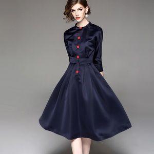 Blue long sleeves wide bottom dress